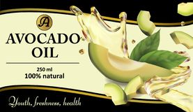 Avocado oil with a splash. Sample labels for advertising. Vector realistic illustration royalty free stock image