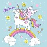 Beautiful, cute, cartoon white unicorn. Vector royalty free illustration
