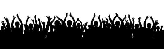 Cheer audience applause. Crowd of people applauding. Vector silhouette vector illustration