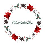 Christmas wreath poinsettia, cone, cotton. omela, cinnamon. Handlettering quote Merry Christmas. vector illustration