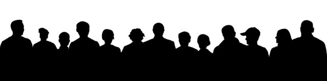 Crowd of people silhouette. Large audience anonymous faces. Meeting demonstrators. Human heads, vector illustration royalty free illustration