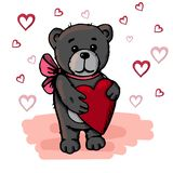 Cute bear holding a heart. Valentines day. royalty free illustration