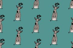 Doodle deer christmas pattern. Naive style. vector illustration