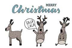 Doodle deers and merry christmas lettering. Naive style. Christmas deers. vector illustration