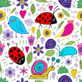 Hand drawn snail, bird, bug, ladybug, flowers, leaves doodle. Seamless pattern. Print for kids design vector illustration