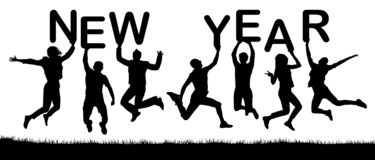 Happy people holiday jumping, hold the letters in their hands, the word New Year. Vector silhouette vector illustration