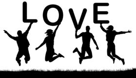 Happy people jumping, hold the letters in their hands, the word love. Vector silhouette stock illustration
