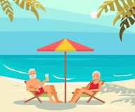 Seniors Relaxes On A Sea Beach. Healthy active lifestyle retiree for grandparents family Elderly people characters on a loungers drinks a beer and relaxes on a royalty free illustration