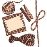 Handmade shop, balls of thread, rope, bow, clothespin, isolates stock illustration
