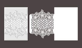 Laser cut envelope template for invitation wedding card stock image