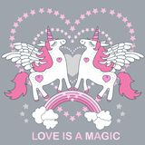 Love is magic. A handsome, cute, cartoon white unicorn on a gray background. Vector vector illustration