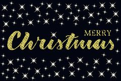 Merry christmas written quote with some sparkle stars. Glitter texture stock illustration