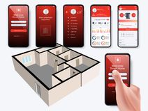 Mobile phone controls smart home. In the distance through app on your smart phone royalty free illustration
