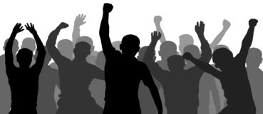 People having fun celebrating. Crowd of fun people on party, holiday. Demonstration, protest. royalty free stock images