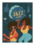Poster music festival, retro party in the style of the 70`s, 80`s. Vector illustration with stylish musicians characters. Poster music festival, retro party in royalty free illustration