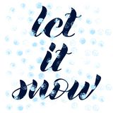 Let it snow phrase. Hand lettered. Blue abstract background. vector illustration