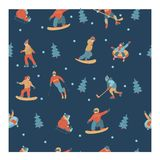 Seamless pattern. Happy New Year. Vector illustration. A set of characters engaged in winter sports and recreation. Seamless pattern. Dark blue background royalty free illustration