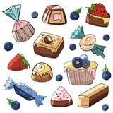 A set of hand-drawn sweets and cakes on a white background. Vector cartoon stock illustration