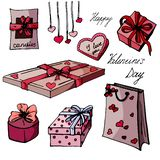Set presents for Valentine`s Day. stock illustration