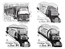 Set of silhouette of trucks with trailer, logs, gas tank, refrigerator. And lettering king of road royalty free illustration