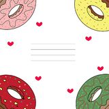 Card with donuts royalty free illustration