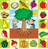 children work in the garden, a set of fruits and vegetables stock illustration