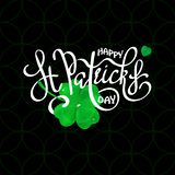 Happy Saint Patrick`s Day logotype. Vector illustration of Happy Saint Patrick`s Day logotype. Hand drawn typography badge with green shamrock. Hand sketched stock illustration