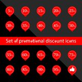 Основные RGBSet  of promotional discount icons. Set Sale Discount Banner. Red signposts on a black background. Discount price. Label special sale Royalty Free Stock Photography