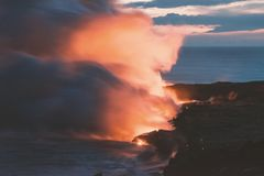 Остров США Гаваи большой, волшебное scenics пляжей, заходы солнца, вулканы, утесы, фотография изящного искусства стоковые фотографии rf