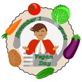 Card for the world day of vegetarianism royalty free illustration