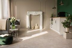 Открытые кухня плана и комната прожития с заводами и серым порталом камина со свечами стоковое изображение rf