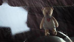 Отснятый видеоматериал hd дождя окна автомобиля медведя шерстей видеоматериал