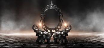 Отразите говорить волшебных, удачи и выполнение желаний Золотой слон на деревянном столе стоковые фотографии rf