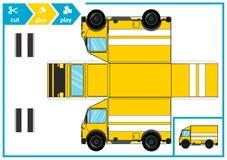 Отрезок и клей бумажный автомобиль Игра искусства детей для страницы деятельности Бумажный след 3d также вектор иллюстрации притя иллюстрация вектора