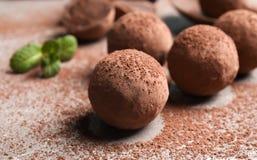 Очень вкусные сырцовые трюфеля шоколада стоковая фотография