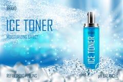 Охлаждая тонер льда с кубами льда Реалистическое крутое освежая объявление бутылки брызг упаковывая для плаката Брызги заботы кож иллюстрация штока