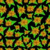 Оранжевая текстура цветков и заводов безшовная Флористический красочный орнамент фантазии Первоначальная картина искусства цветко иллюстрация штока