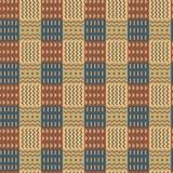 Орнаментальная checkered безшовная картина, разделенная в орнаменты квадраты, этнический стиль, стильная предпосылка вектор стоковое фото
