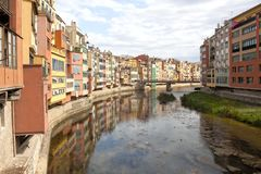 Oñar river passing by Gerona in a clear sky Royalty Free Stock Image
