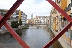 Oñar river passing by Gerona between houses Royalty Free Stock Photos