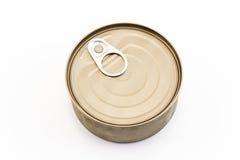 Oöppnad can av tonfisk arkivfoton