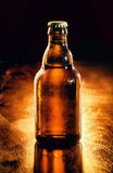 Oöppnad flaska av kylt öl royaltyfri bild
