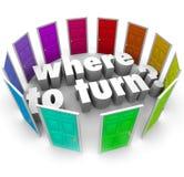 Où tourner endroit se demandant de question le meilleur pour commencer Photo stock