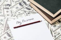 Ołówek i papier z Mój Biznesowymi słowami Zdjęcia Stock
