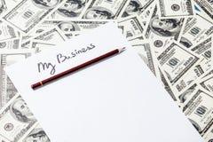 Ołówek i papier z Mój Biznesowymi słowami Obrazy Stock