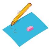Ołówek papierowa gumka Obrazy Royalty Free