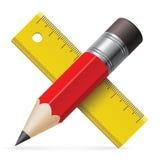 Ołówek, władca Zdjęcie Stock