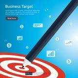 Ołówek wskazuje dartboard centrum cel strategii osiągnięcie i sukcesu płaski projekt Łuczniczy strzałka cel, strzała i Biznes royalty ilustracja