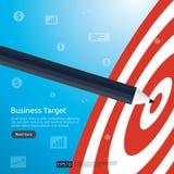 Ołówek wskazuje dartboard centrum cel strategii osiągnięcie i sukcesu płaski projekt Łuczniczy strzałka cel, strzała i Biznes ilustracji