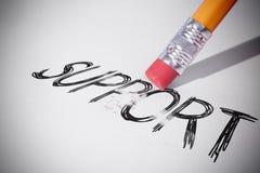 Ołówek wymazuje słowa poparcie Zdjęcia Stock